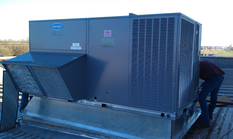 10 Ton Package Heat Pump Unit Conversion with Curb Adapter
